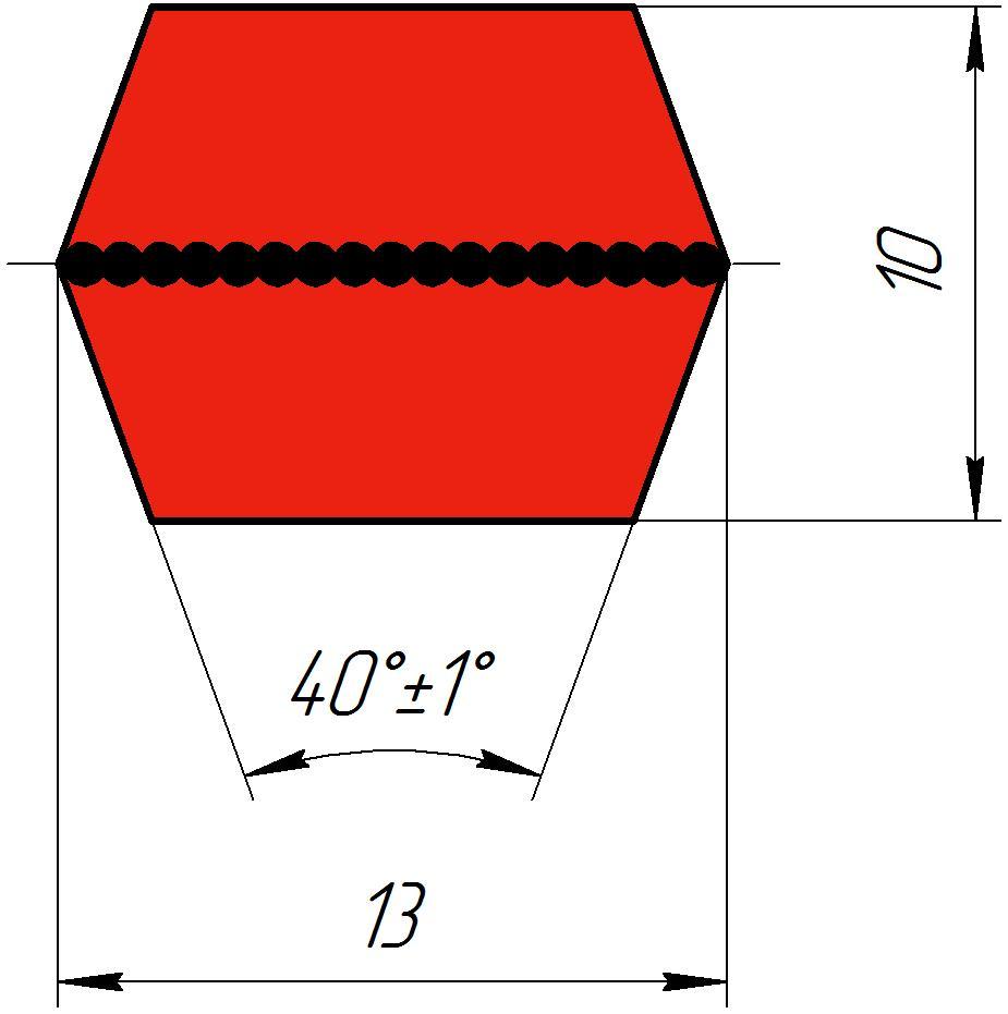 Двухсторонний клиновый ремень (шестигранный)  AA 165