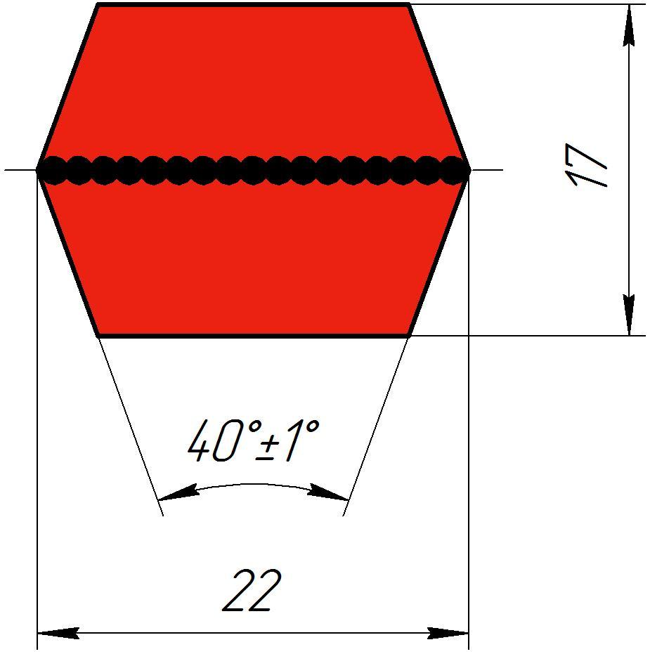 Двухсторонний клиновый ремень (шестигранный)  CC 228