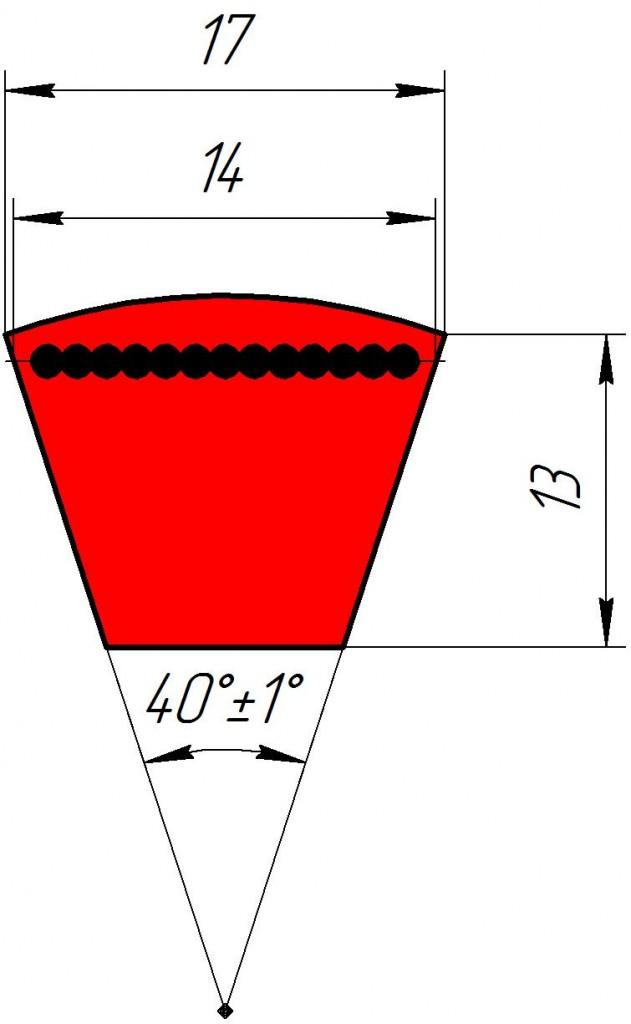 Узкоклиновый ремень с формованным зубом  XPB 1400