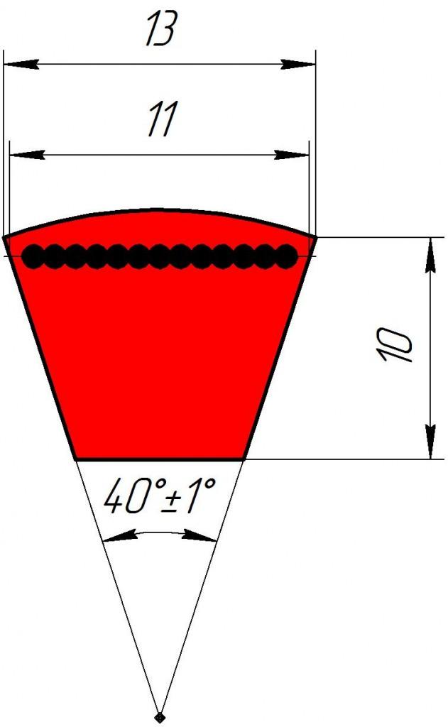 Узкоклиновый ремень  УА 1800
