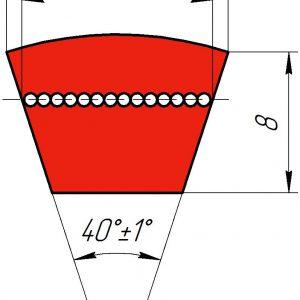 Узкоклиновый ремень с формованным зубом  XPZ 1462